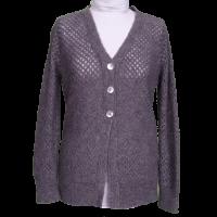 Damenjacke aus Alpakawolle mit zartem Lochmuster grau