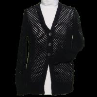 Damenjacke im zarten Lochmuster schwarz